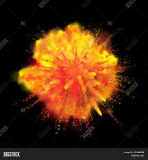 Orange Paint by Color Powder Explosion On Black Background Yellow With Red Orange