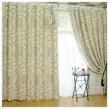 Fishtail Swag Curtains Energy Saving Solid Ivory Two Panels Thermal Insulation Curtains