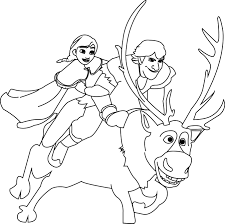 anna kristoff and sven coloring page wecoloringpage
