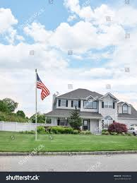 american flag pole front yard lawn stock photo 170548616