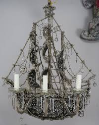 Crystal Ship Chandelier Unique French Crystal Beaded Ship Chandelier Circa 1930s