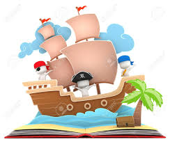 3d illustration of kids playing in a pirate ship on a popup book