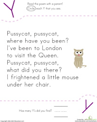 find the letter y pussycat pussycat