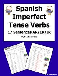 spanish imperfect tense verbs worksheet 17 sentences by sue summers