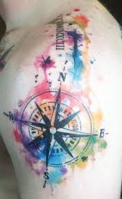 unique watercolor tattoo compass watercolor tattoo design
