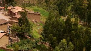 andean village in peru near cusco with typical adobe houses and