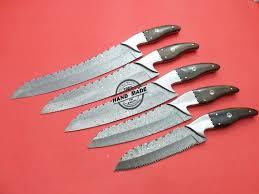 custom handmade full tang damascus kitchen knife with buffalo horn
