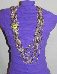ladder ribbon cozy purple pink and green chain crochet ladder ribbon yarn