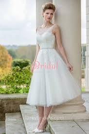 illusion neck subtle lace tulle modern a line tea length wedding