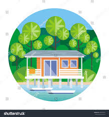 beach house on stilts surrounded by stock vector 646870576