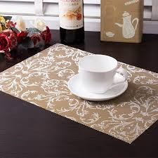 dining room placemats 4pcs set pvc square dining table placemats gold heat insulation