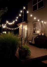 patio diy outdoor string lights with wooden deck ideas and some