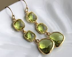 peridot earrings gold peridot earrings apple green two tier earrings peridot