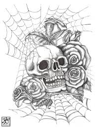 skull and roses coloring pages