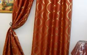 Orange Patterned Curtains Curtains Arresting Alarming Orange And Brown Panel Curtains