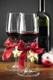 wine glass christmas ornaments wine bottle and christmas ornaments selctive focus stock