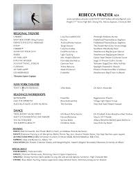 Ballet Resume Rebecca Frazier Actress Singer Dancer Resume