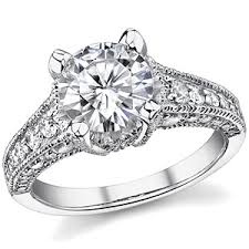 moissanite vintage engagement rings forever brilliant moissanite antique engagement ring