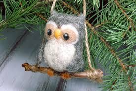 owl christmas ornament mini needle felted wool christmas tree