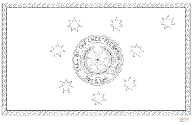 flag of the cherokee nation coloring page free printable
