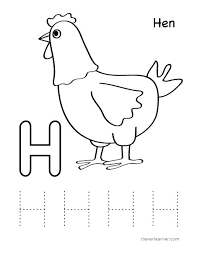 letter h writing and coloring sheet