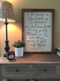 wood home decor scripture sign psalm 127 4 5 reclaimed by jess