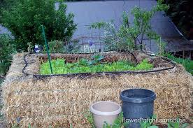 straw bale garden flower patch farmhouse