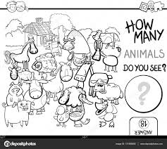 farm animal coloring book count farm animals for coloring u2014 stock vector izakowski 131568292