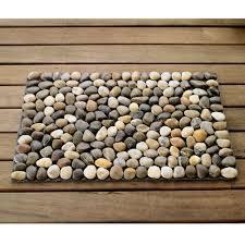 Pebble Rug River Stone Mats In Black White Ochre And Multi Vivaterra