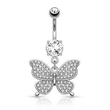 bodyj4you butterfly belly button rings dangle fancy navel