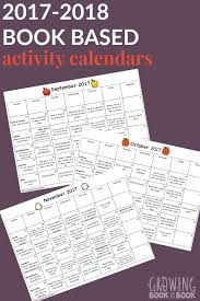 2017 2018 book based activity calendars