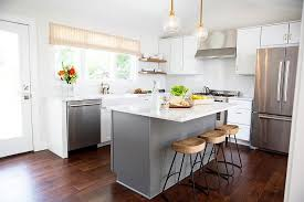 honed gray and white marble island countertop transitional kitchen