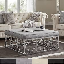 overstock ottoman coffee table solene chrome quatrefoil base square ottoman coffee table by