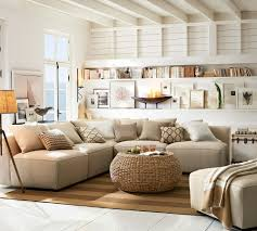 decorating pottery barn living room with wicker coffee table and