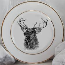 personalized china plates gold deer reindeer plates dinnerware dishes customized