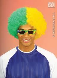 two tone green u0026 yellow curly afro wig brazilian brazil fancy