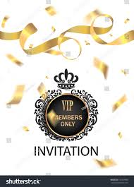 Gold Invitation Card Vip Invitation Card Gold Confetti Ticker Stock Vector 373583980
