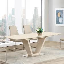 Lorgato Cream High Gloss  Glass M Extending Dining Table - Cream kitchen table