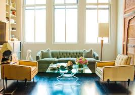 lavish retro room interior with dark floor also glass coffee table
