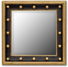 marvelous square brushed brass wall mirrors frame hang on white