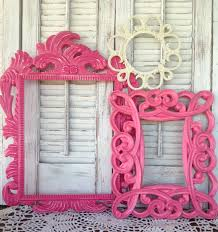 Pink Wall Decor by Victorian White U0026 Pink Empty Frames Wall Frame Gallery 8 Pc