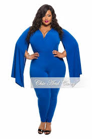 royal blue jumpsuit plus size jumpsuit with slit sleeves in royal blue chic and