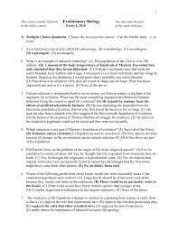 key for exam 1 part 1 evolutionary biology