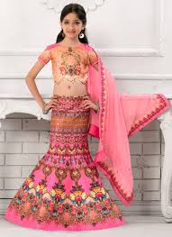 buy pink fish cut kids lehenga choli girls lehenga online