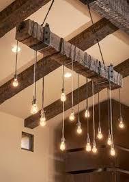 Hanging Bulb Chandelier Reclaimed Wood Beams Best Diy Beams Loft Lighting And Lights