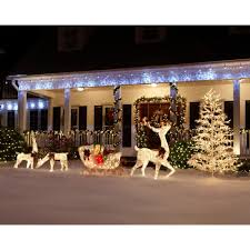 Outdoor Christmas Decorations Reindeer And Sleigh Home Accents Holiday 5 Ft Pre Lit White Reindeer With Sleigh Ty311