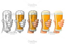 cartoon beer pint man hand holding and clinking beer glass differents graphic