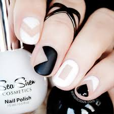 black and white negative space nails tutorial