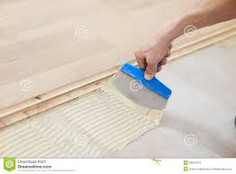 gluing parquet floor work stock photography image 28537872