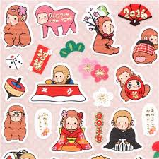 new year items small happy new year stickers with monkeys in with